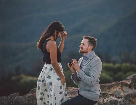 John & Priya's surprise proposal in the Blue Mountains